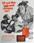 1956 Fram Oil Filter Ad ~ Keith Ward Chimp Family