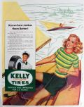 1949 Kelly Tires Ad ~ Bill Randall Pinup Style Art