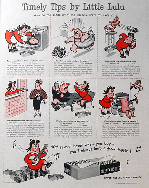 1951 Kleenex Tissues Ad ~ Tips by Little Lulu
