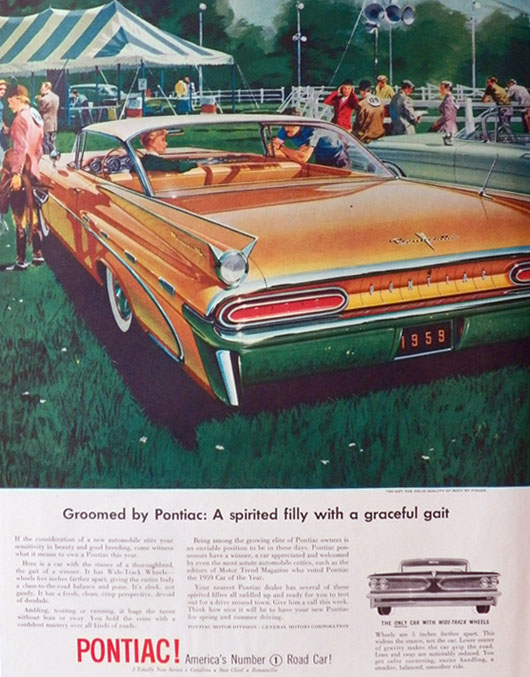 1959 Pontiac Bonneville Ad ~ A Spirited Filly