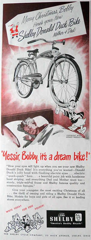 1949 Vintage Shelby Donald Duck Bicycle Ad