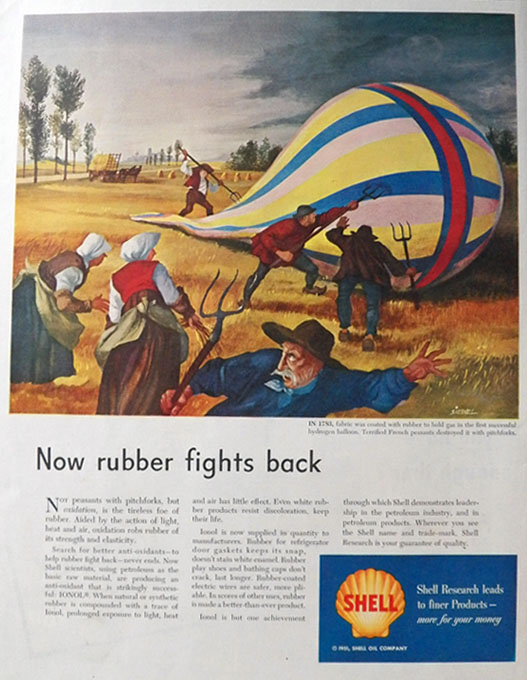 1949 Shell Oil Ad ~ Fred Siebel ~ First Hydrogen Balloon
