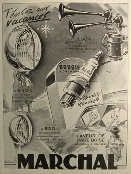 1951 Vintage Marchal Auto Parts French Ad
