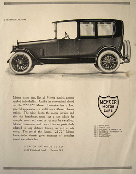 1915 Mercer Automobile Limousine Ad