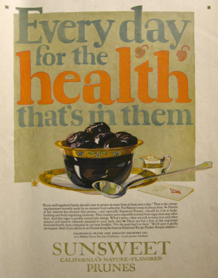1921 Sunsweet Prunes Ad ~ For the Health in Them