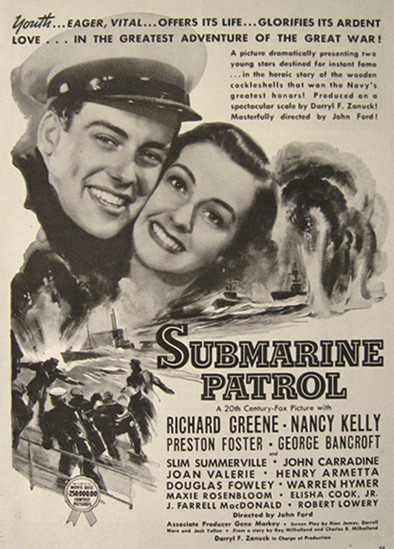 1938 Movie Ad ~ Submarine Patrol ~ Richard Greene, Nancy Kelly