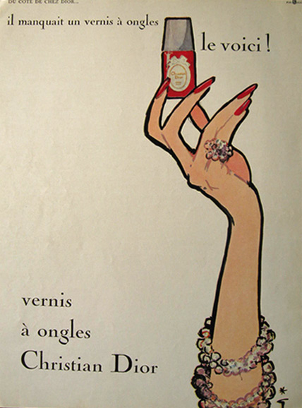 1963 Christian Dior French Nail Polish Ad ~ Rene Gruau Art