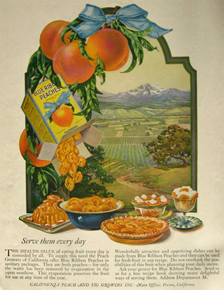 1921 Blue Ribbon California Peaches Ad