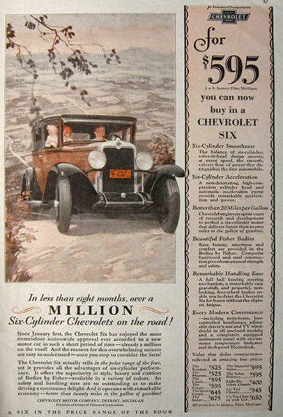 1929 Chevy Six Ad ~ Fred Mizen