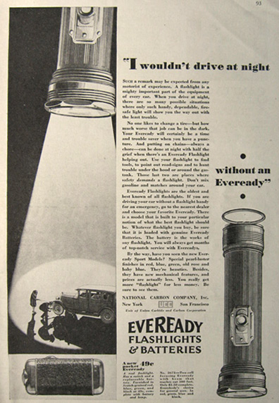 1929 Eveready Flashlight Amp Battery Ad Vintage Hardware