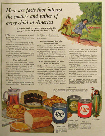 1913 Karo Syrup Ad ~ Interesting Facts