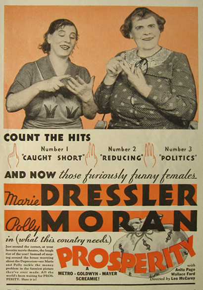 1932 Movie Ad ~ Marie Dressler, Polly Moran ~ Prosperity