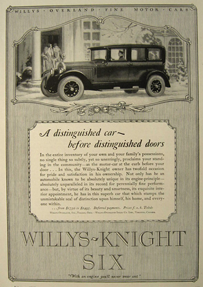 1926 Willys Knight Six Automobile Ad