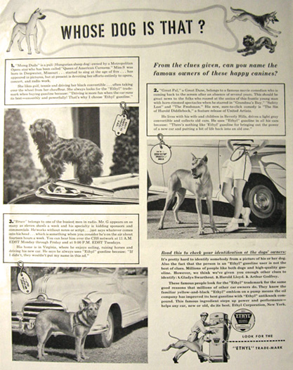 1947 Ethyl Gasoline Ad ~ Dogs with Famous Owners