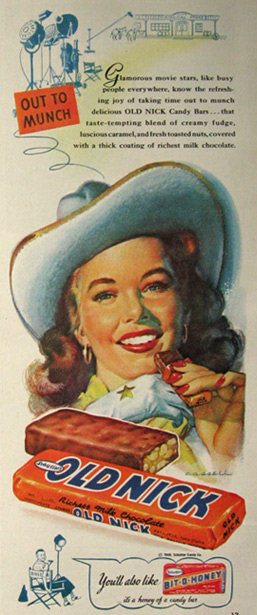1948 Old Nick Candy Bar Ad ~ Cassell Art