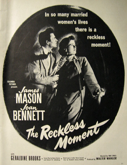 1949 Movie Ad ~ The Reckless Moment ~ Joan Bennett