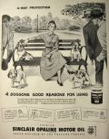 1949 Sinclair Motor Oil Ad ~ Woman with Bulldogs