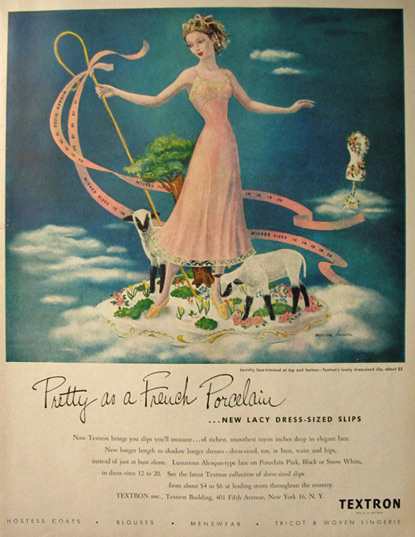 1948 Textron Lingerie Ad ~ Woman with Lambs