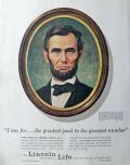 1961 Lincoln Life Insurance Ad ~ Abe Lincoln, Birney Lettick Art