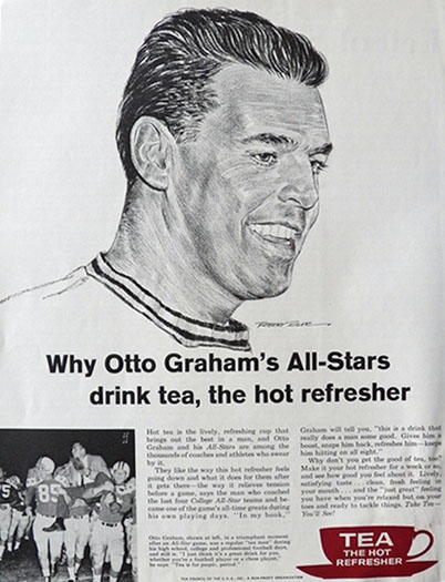 1961 Tea Council Ad ~ Otto Graham ~ Robert Riger Art