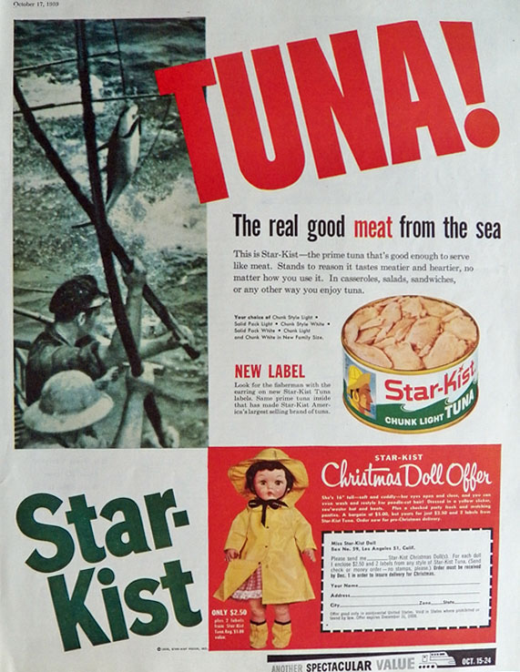 1959 Starkist Tuna Ad ~ Miss Starkist Doll Offer