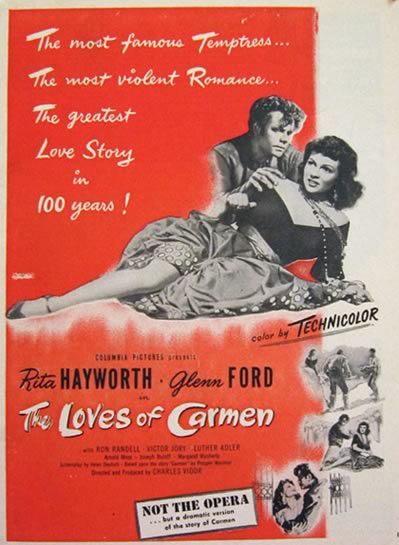 1948 Movie Ad ~ The Loves of Carmen ~ Rita Hayworth