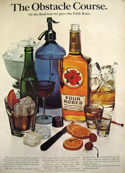 1966 Four Roses Whiskey Ad Vintage Seltzer Bottle