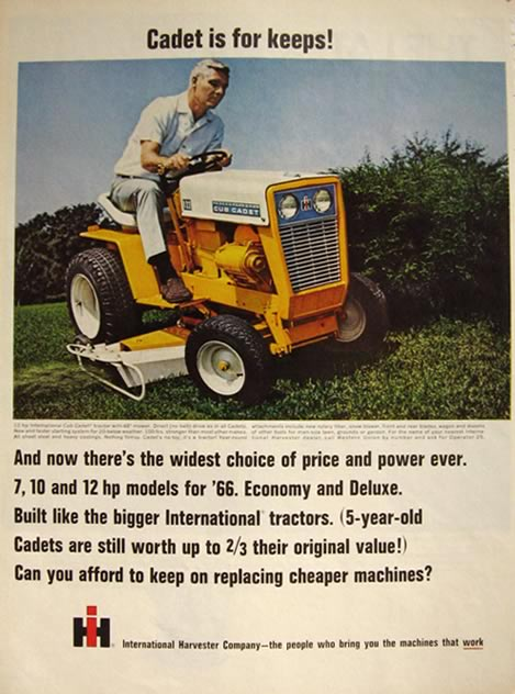 1966 International Harvester Cub Cadet Tractor Ad Vintage