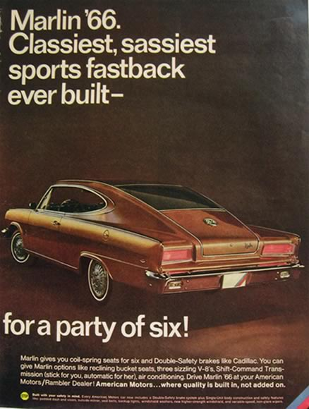 1966 American Motors Marlin Fastback Vintage Car Ad