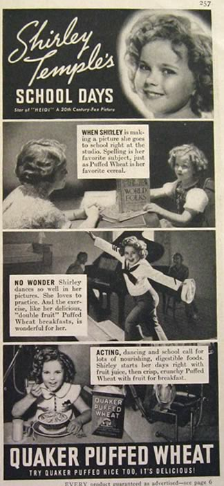 1937 Puffed Wheat Cereal Ad ~ Shirley Temple