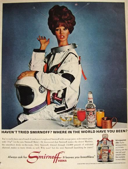 1966 Smirnoff Vodka Ad ~ Space Lady, Astronaut