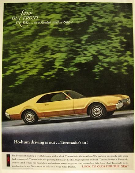 1966 Oldsmobile Toronado Ad ~ Ho-Hum Driving is Out