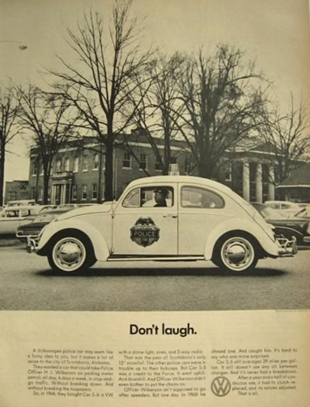 1966 Volkswagen VW Beetle Ad ~ Scottsboro, AL Police Car