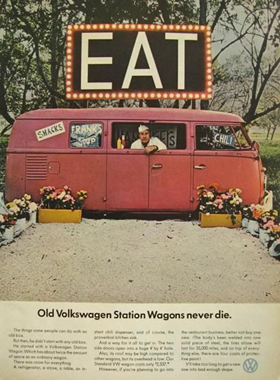 1966 Volkswagen VW Bus Ad ~ VW Station Wagon Snack Shop