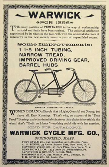 1896 Warwick Bicycle Ad ~ Combination Tandem