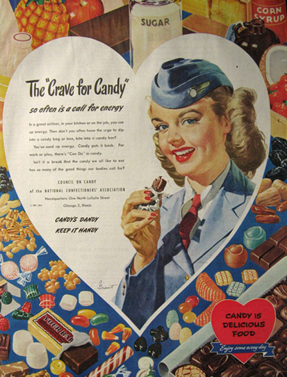 1947 Council on Candy Ad ~ Woman Soldier