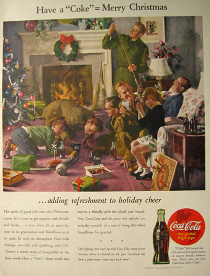 1944 Coca Cola Coke Ad ~ Soldiers at Christmas