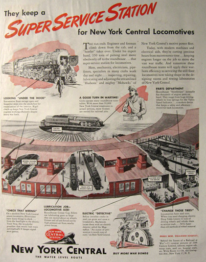 1945 New York Central Railroad Ad Service Station
