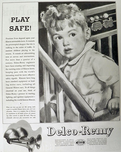 1936 Delco Klaxon Car Horns Ad ~ Play Safe!