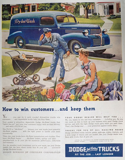 1946 Dodge Truck Ad ~ Dy-Dee Laundry Truck