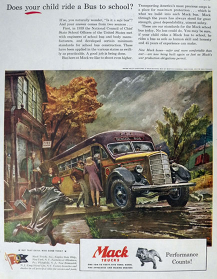 1945 Mack Truck Ad ~ Boston Corners, NY School Bus