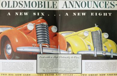 1937 Oldsmobile Six & Eight Ad ~ Two Pages