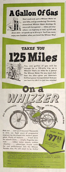 1947 Whizzer Bicycle Motor Motorcycle Ad