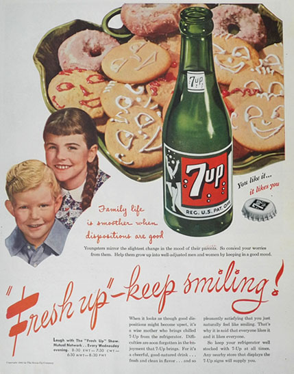 1945 Seven-Up 7-Up Ad ~ Family Life