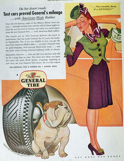 1943 General Tire Ad ~ Woman with Bulldog Cartoon