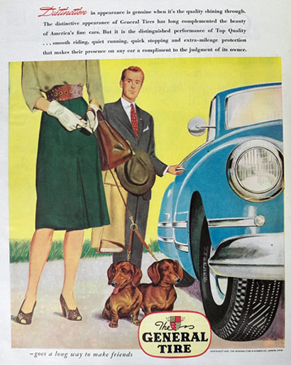 1945 General Tires Ad ~ Dachshund Dogs