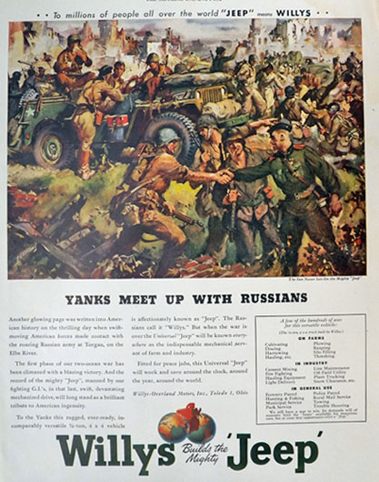 1945 Willys Military Jeep Ad ~ Yanks Meet Russians