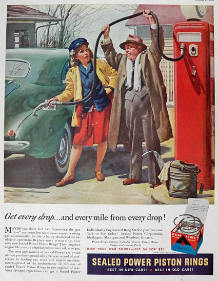 1945 Sealed Power Piston Rings Ad ~ Couple at Vintage Gas Pump