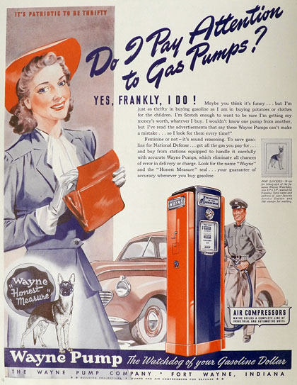 1942 Wayne Vintaage Gas Pump Ad ~ Do I Pay Attention?