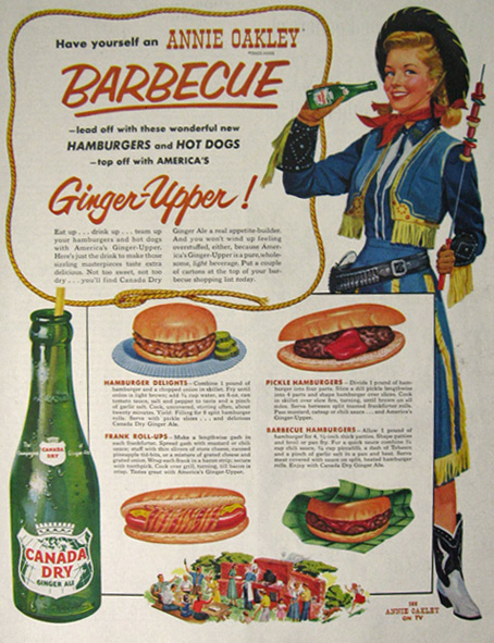 1954 Canada Dry Ginger Ale Ad ~ Annie Oakley BBQ Recipes